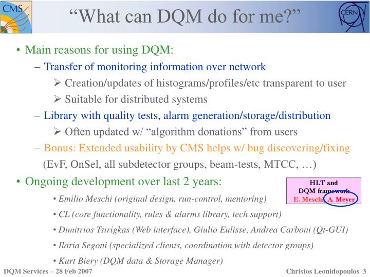 """""""What can DQM do for me?"""""""
