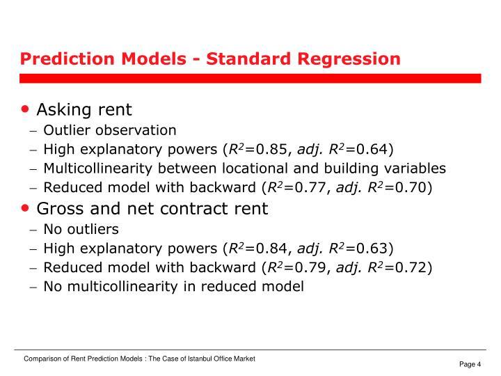 Prediction Models - Standard Regression
