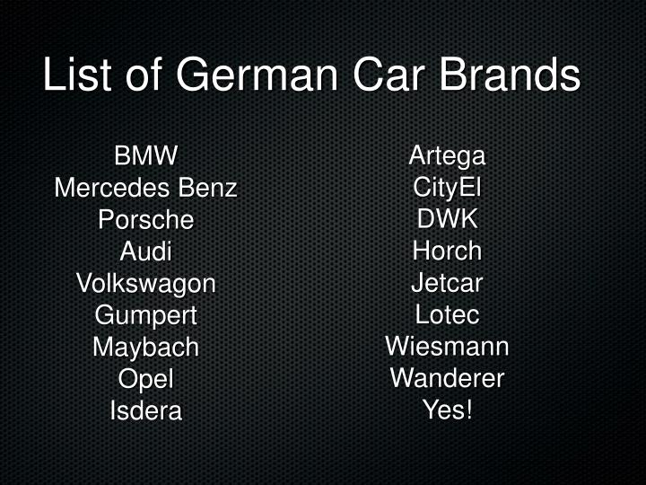List of german car brands