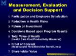 measurement evaluation and decision support