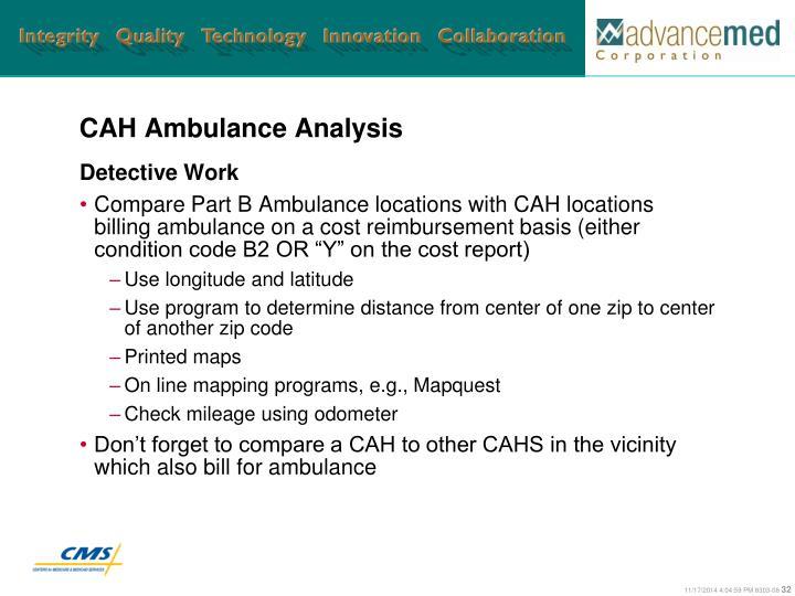CAH Ambulance Analysis