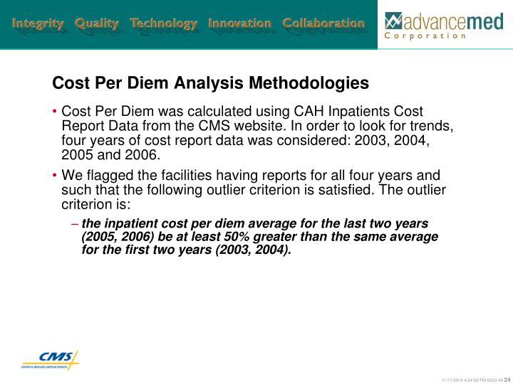 Cost Per Diem Analysis Methodologies