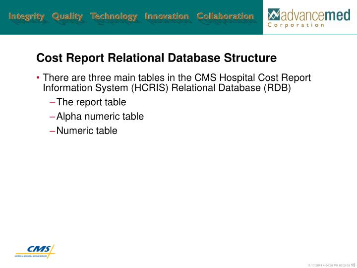 Cost Report Relational Database Structure