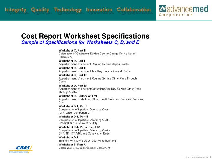 Cost Report Worksheet Specifications