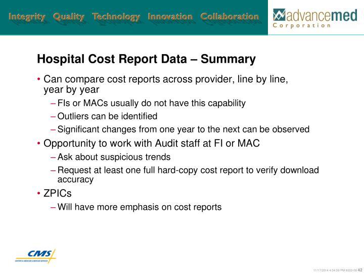 Hospital Cost Report Data – Summary