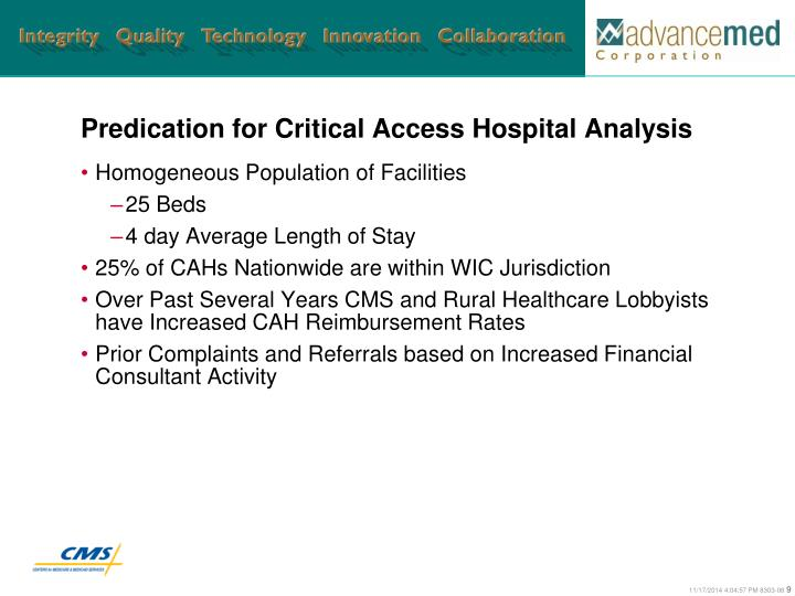 Predication for Critical Access Hospital Analysis
