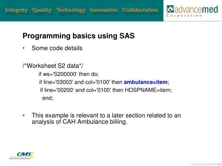 Programming basics using SAS