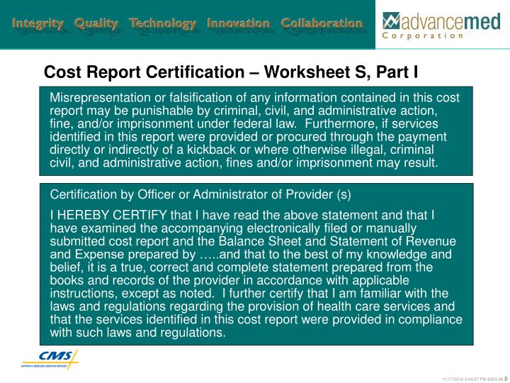 Cost Report Certification – Worksheet S, Part I