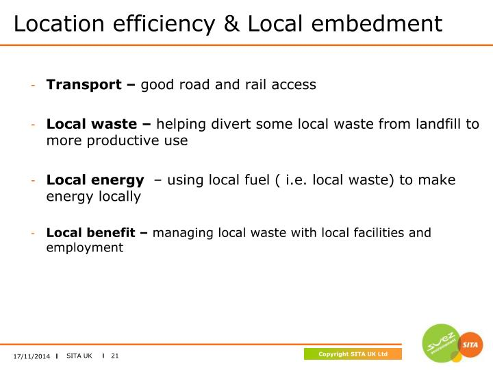 Location efficiency & Local embedment