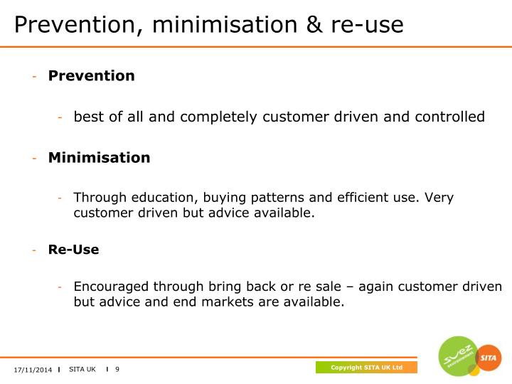 Prevention, minimisation & re-use