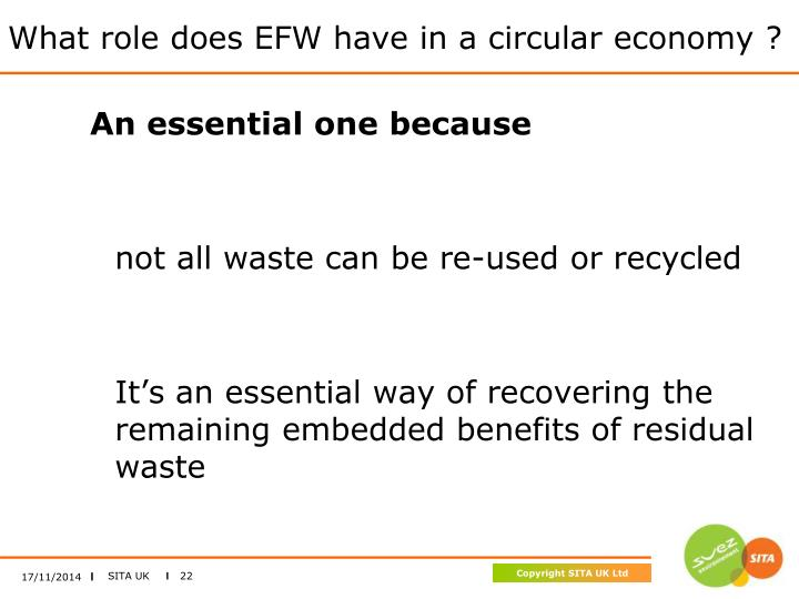 What role does EFW have in a circular economy ?