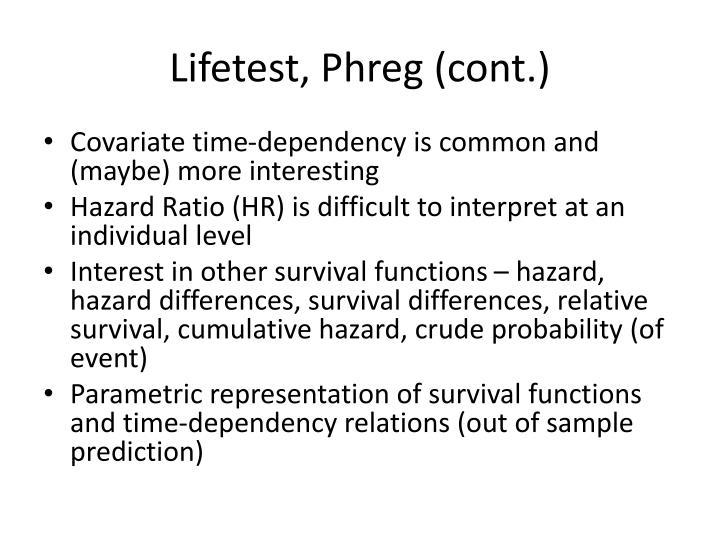 Lifetest, Phreg (cont.)