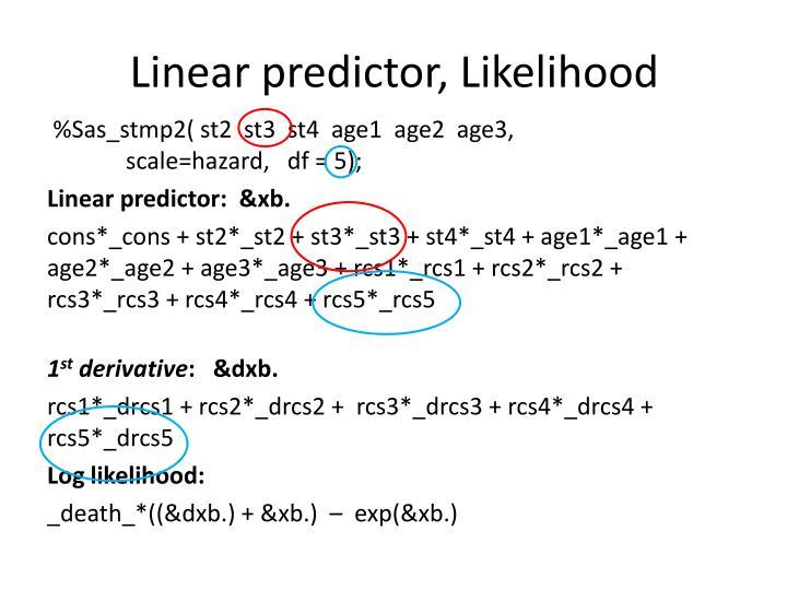 Linear predictor, Likelihood
