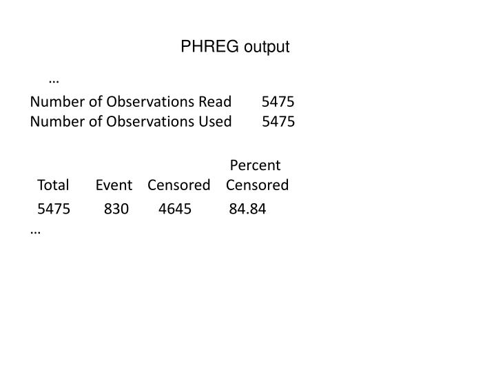 PHREG output