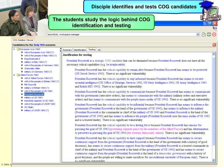 Disciple identifies and tests COG candidates