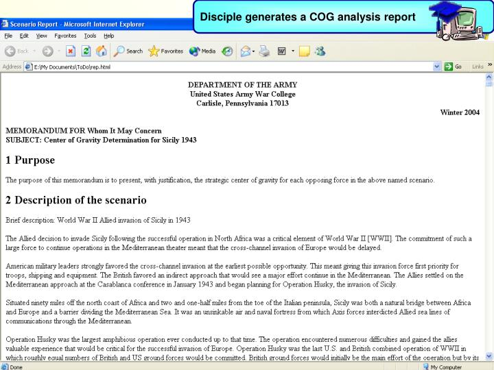 Disciple generates a COG analysis report