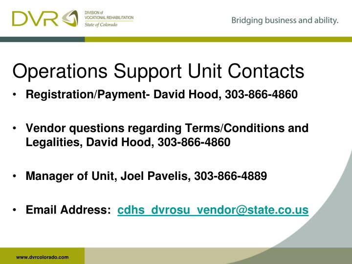Operations Support Unit Contacts