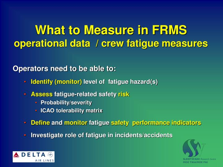 What to measure in frms operational data crew fatigue measures