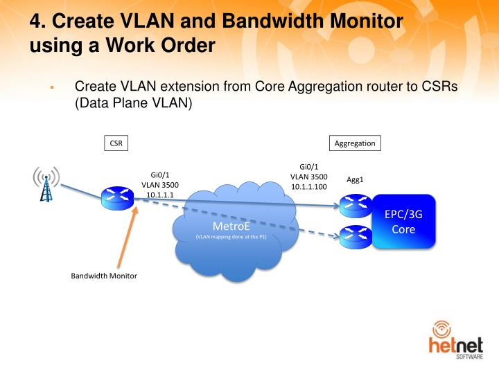4. Create VLAN and Bandwidth Monitor using a Work Order
