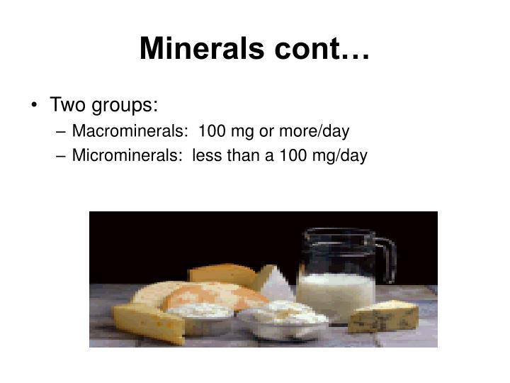 Minerals cont…