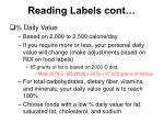 reading labels cont