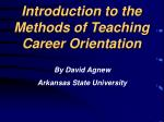 introduction to the methods of teaching career orientation