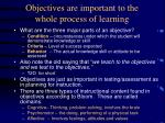 objectives are important to the whole process of learning