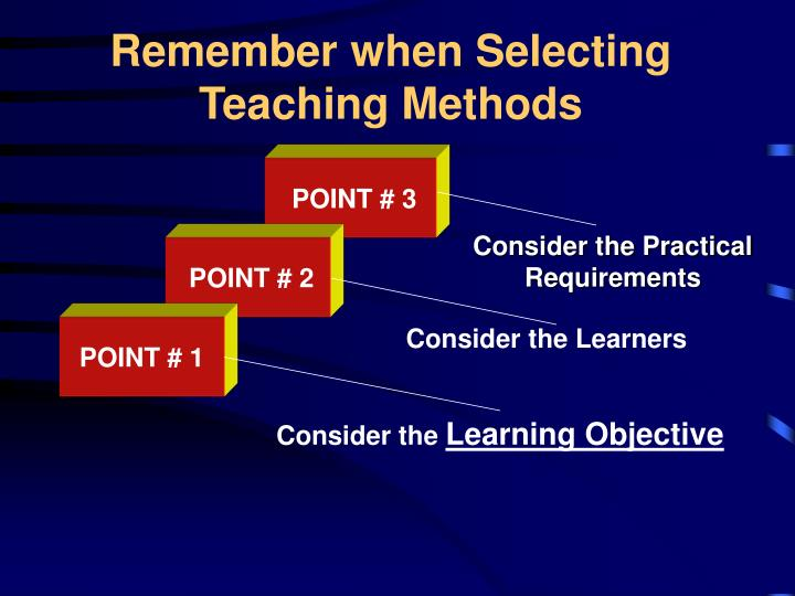 Remember when Selecting Teaching Methods