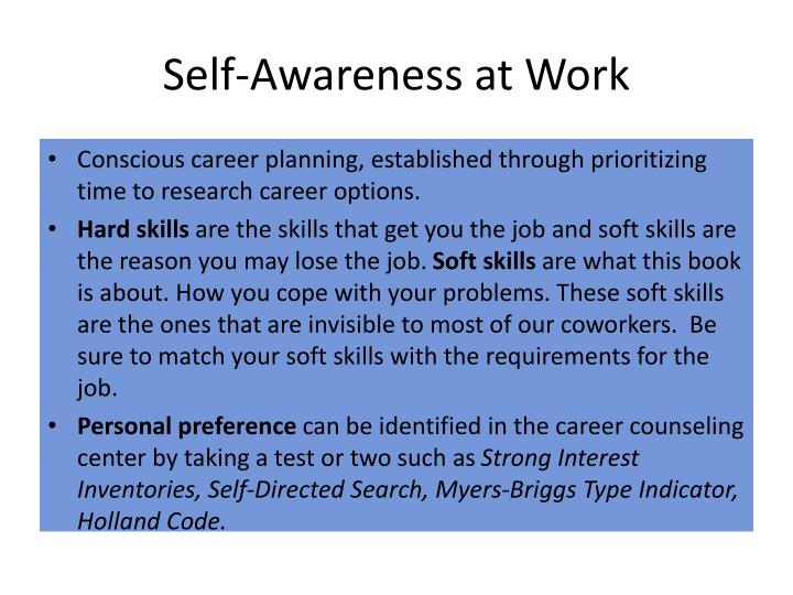 Self-Awareness at Work