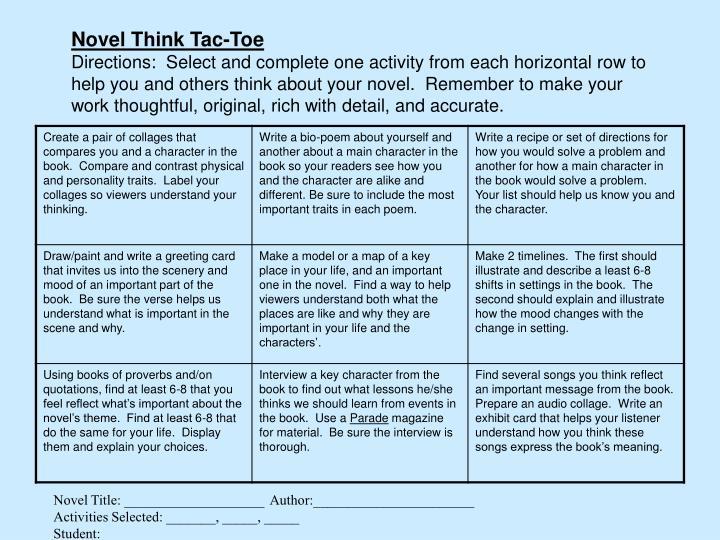 Novel Think Tac-Toe