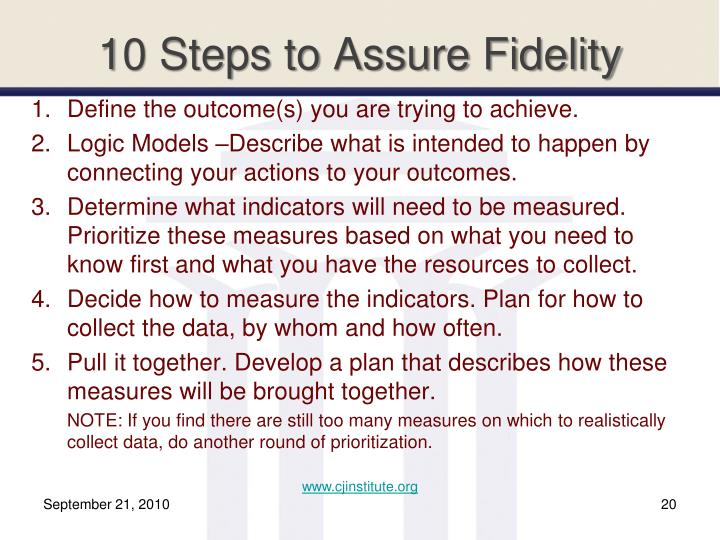 10 Steps to Assure Fidelity
