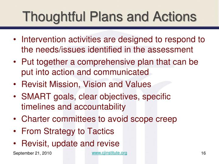 Thoughtful Plans and Actions