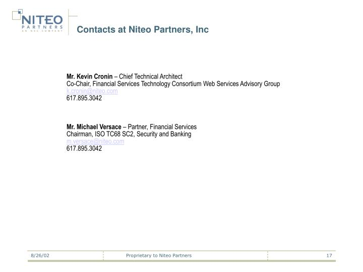 Contacts at Niteo Partners, Inc