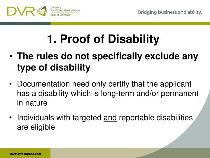 1. Proof of Disability