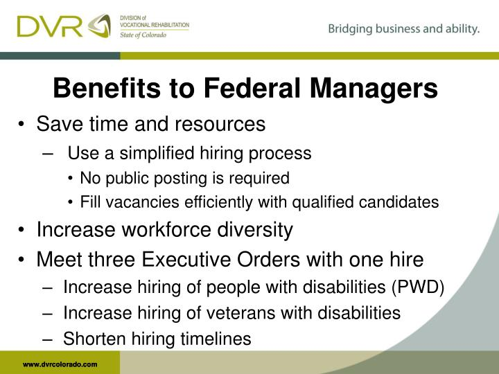 Benefits to Federal Managers