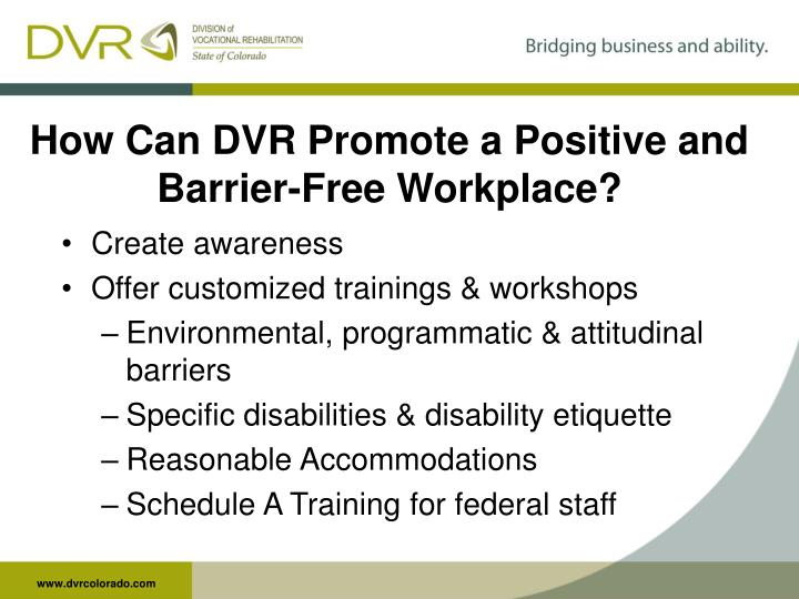 How Can DVR Promote a Positive and Barrier-Free Workplace?