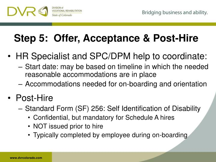 Step 5:  Offer, Acceptance & Post-Hire