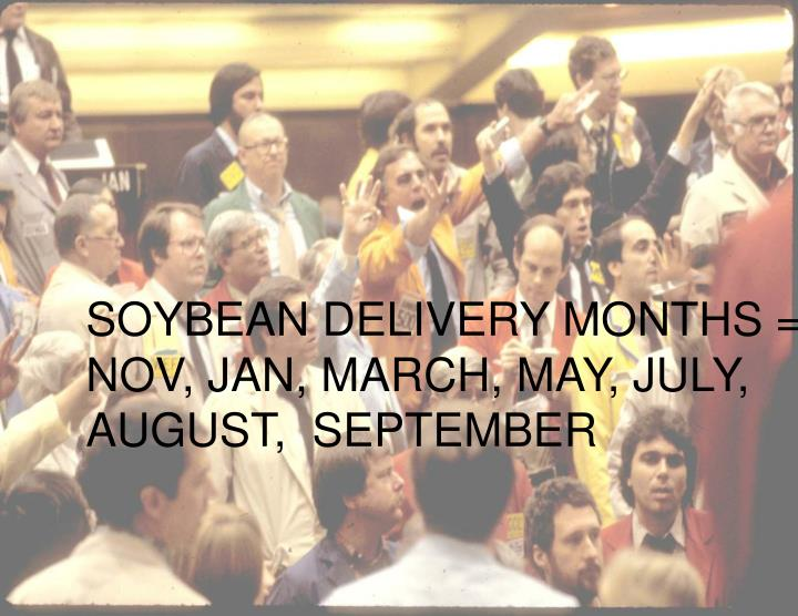 SOYBEAN DELIVERY MONTHS = NOV, JAN, MARCH, MAY, JULY, AUGUST,  SEPTEMBER