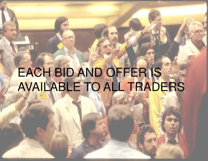 EACH BID AND OFFER IS AVAILABLE TO ALL TRADERS