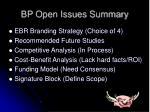 bp open issues summary