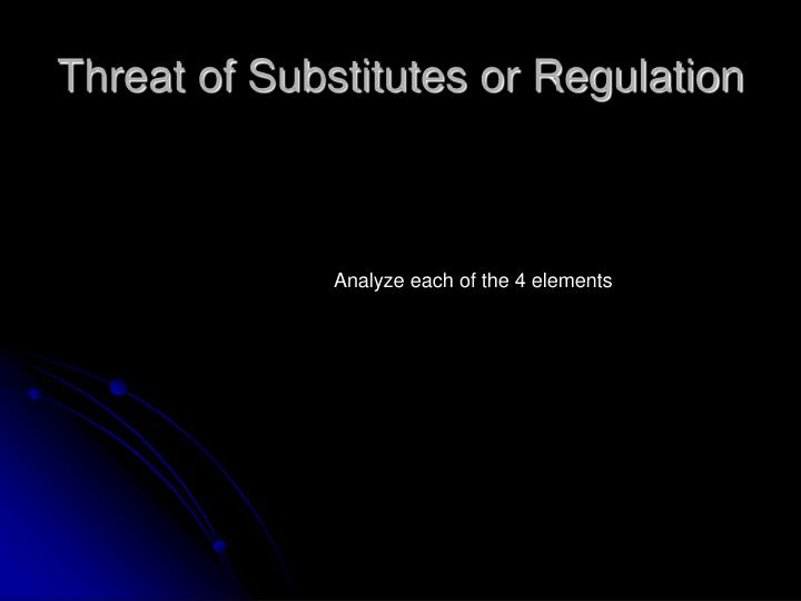 Threat of Substitutes or Regulation