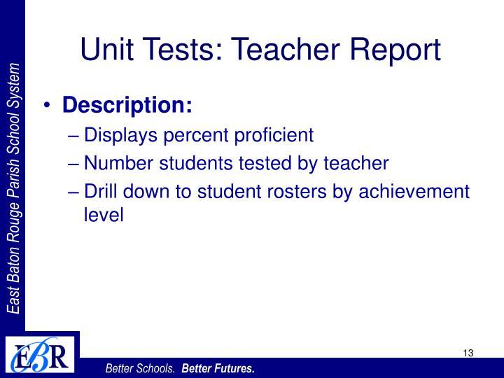 Unit Tests: Teacher Report