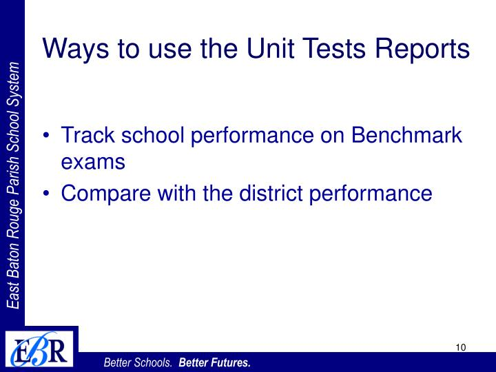 Ways to use the Unit Tests Reports