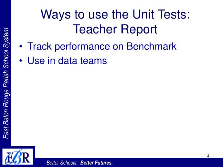 Ways to use the Unit Tests: Teacher Report
