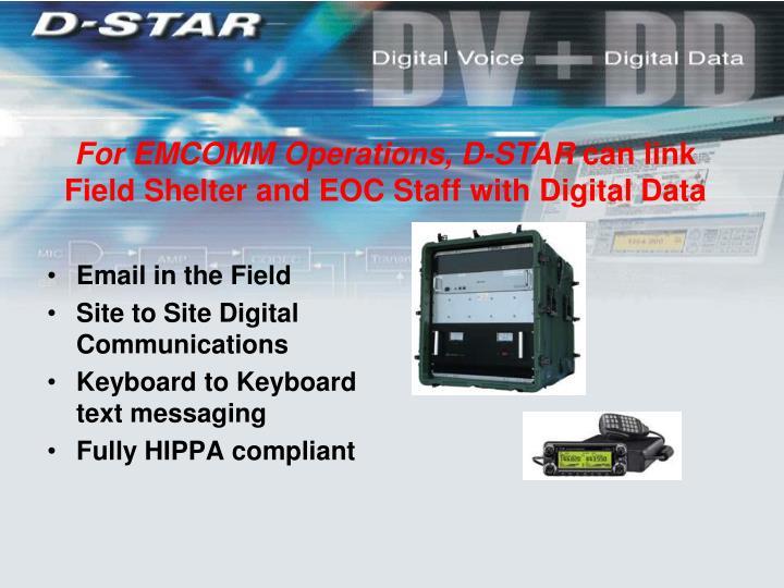 For EMCOMM Operations, D-STAR