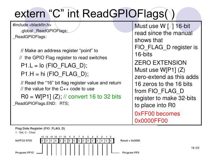 "extern ""C"" int ReadGPIOFlags( )"