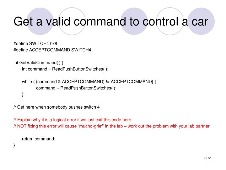 Get a valid command to control a car