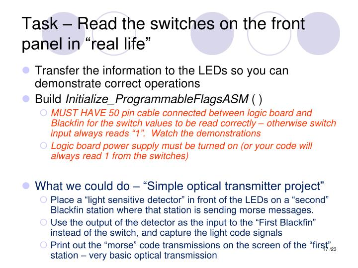 """Task – Read the switches on the front panel in """"real life"""""""