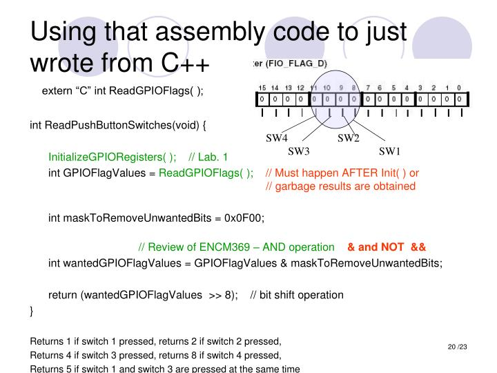 Using that assembly code to just wrote from C++