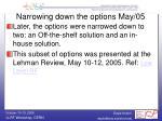 narrowing down the options may 05